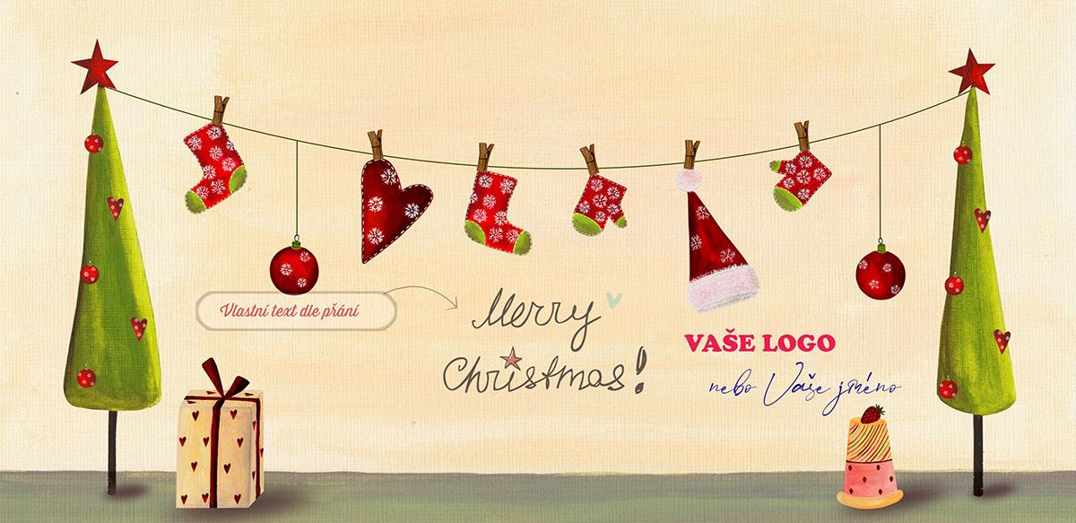 Nádherně nakreslené vánoční přání s prádelní šňůrou mezi dvěma vánočními stromky s vánočním prádlem.