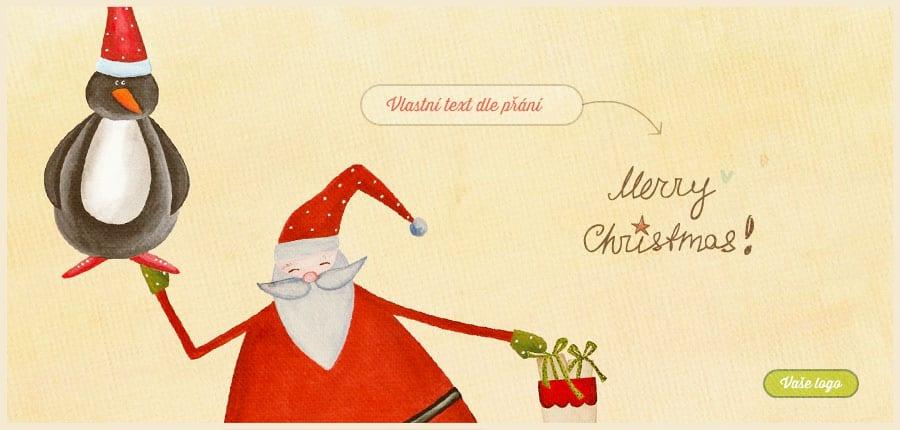 Kreslená novoročenka se Santou ve spěchu držícím v jedné ruce tašku s dárky a v druhé tučňáka.