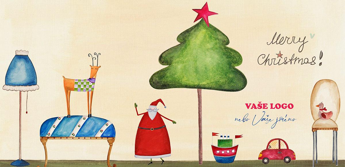 Vtipně nakreslené vánoční přání v podobě seznamu pro Santu – lampa, autíčko, pejsek, pohovka atd.