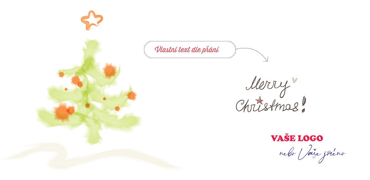 Vánoční přání s dětskou kresbou vánočního stromečku vodovkami s mírně rozpitým efektem.