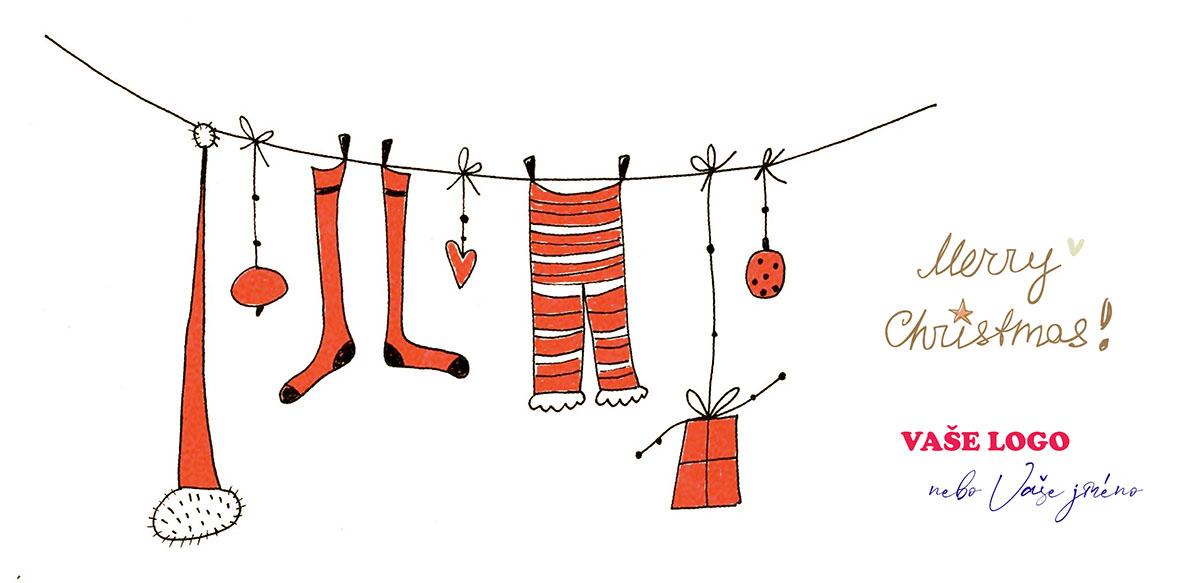 Legračně nakreslená novoročenka se Santovým vánočním prádlem spolu s výzdobou a dárky na šňůře na bílém pozadí.