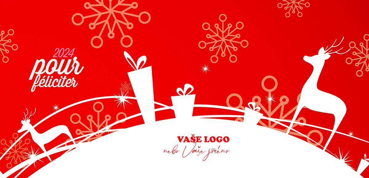 Novoročenka s bílými siluetami vánočních dárků a sobů na sněhu v kontrastu červeného pozadí s vločkami.