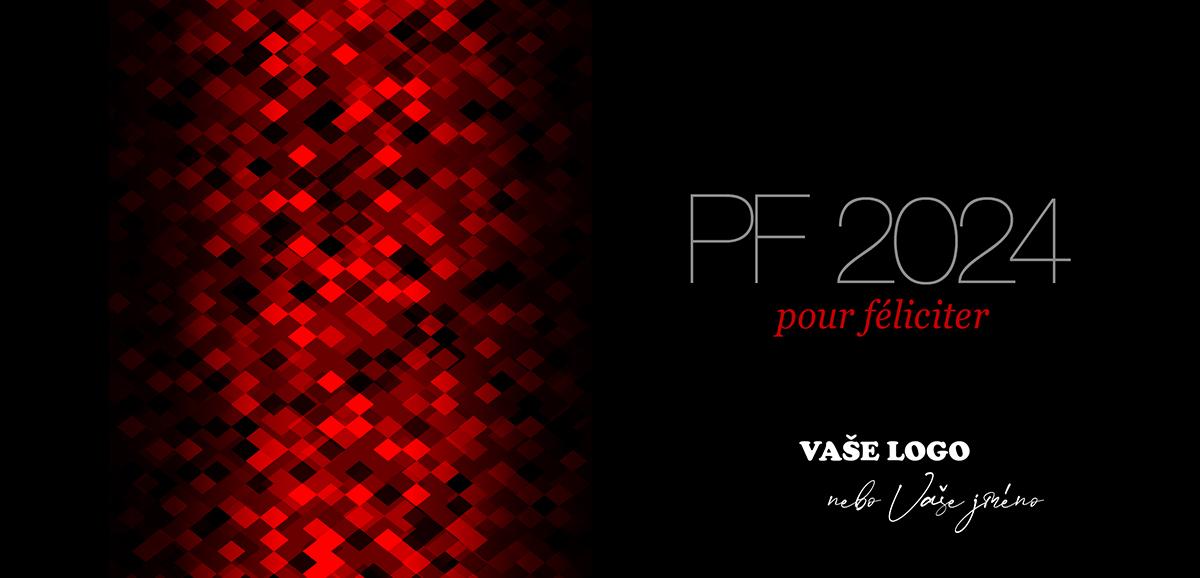 Rozostřená pixelová abstrakce s vánoční ozdobou na černém pozadí vytvořila originální firemní novoročenku.