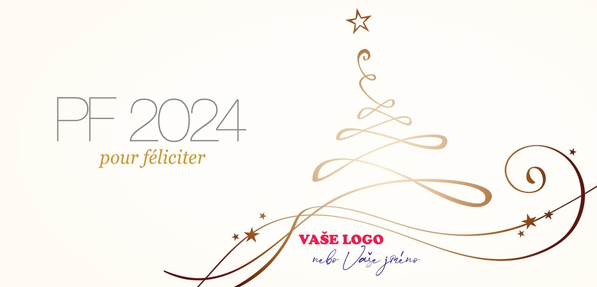 Stylové zlatobílé firemní novoroční přání s umělecky načrtnutou siluetou stromku oslní elegancí.