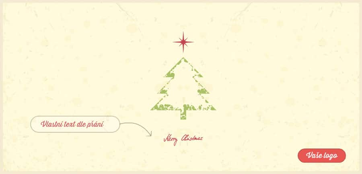 Vánoční přání s obtiskem stromečku zvýrazněného zeleně pouze v obrysech na pozadí přírodního papíru.