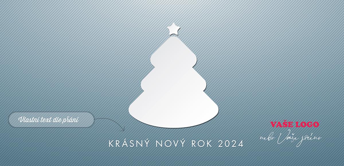 Firemní vánoční přání s bílým vystřiženým papírovým vánočním stromkem na šedomodrém strukturovaném pozadí.