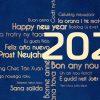 Novoroční přání s různě položenými texty přání v mnoha světových jazycích, ve zlatomodré kombinaci
