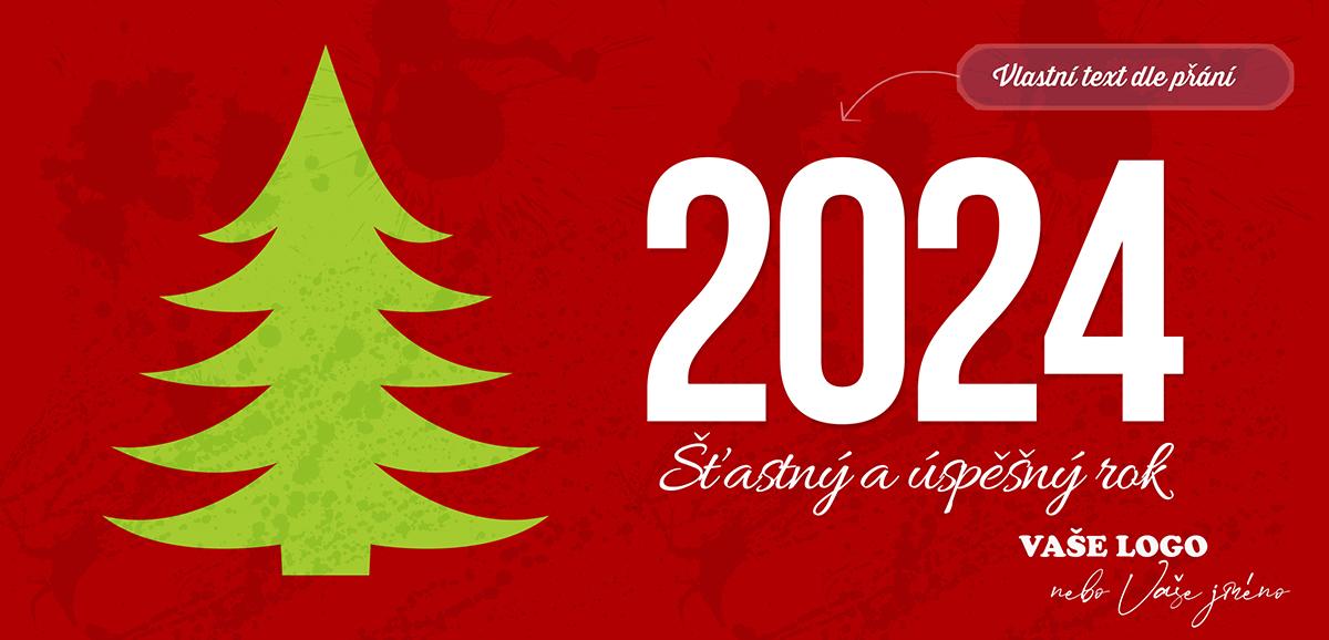 Zvláštní novoročenka se zeleným stromem na červeném pozadí, na kterém prosvítají kaňky a šmouhy.