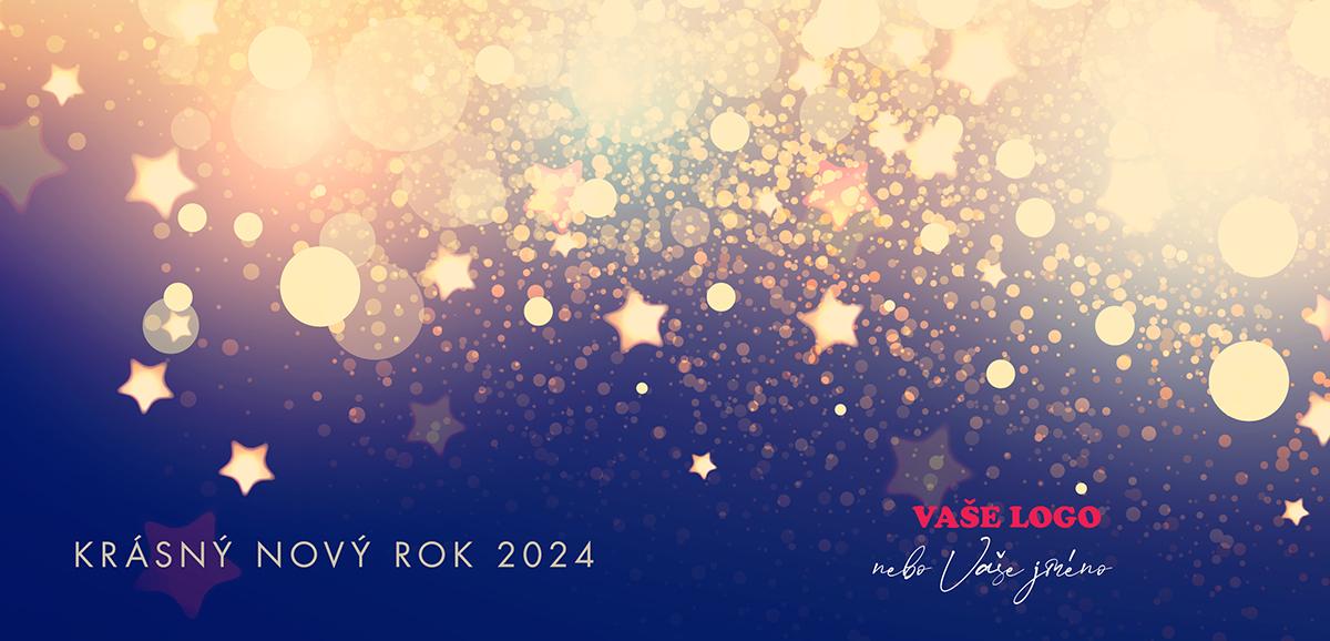 Neobyčejné firemní novoroční přání s noční oblohou ozářenou zlatým ohňostrojem.