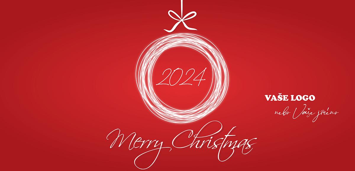 Červené vánoční přání s mnohokrát bíle zakroužkovaným číslem nového roku dokresleným do vánoční ozdoby.
