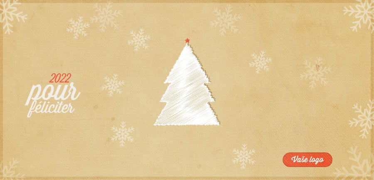 Vánoční přání s textilním stromečkem, z bílé částečně lesklé látky, na zažloutlém pozadí s jemnými vločkami