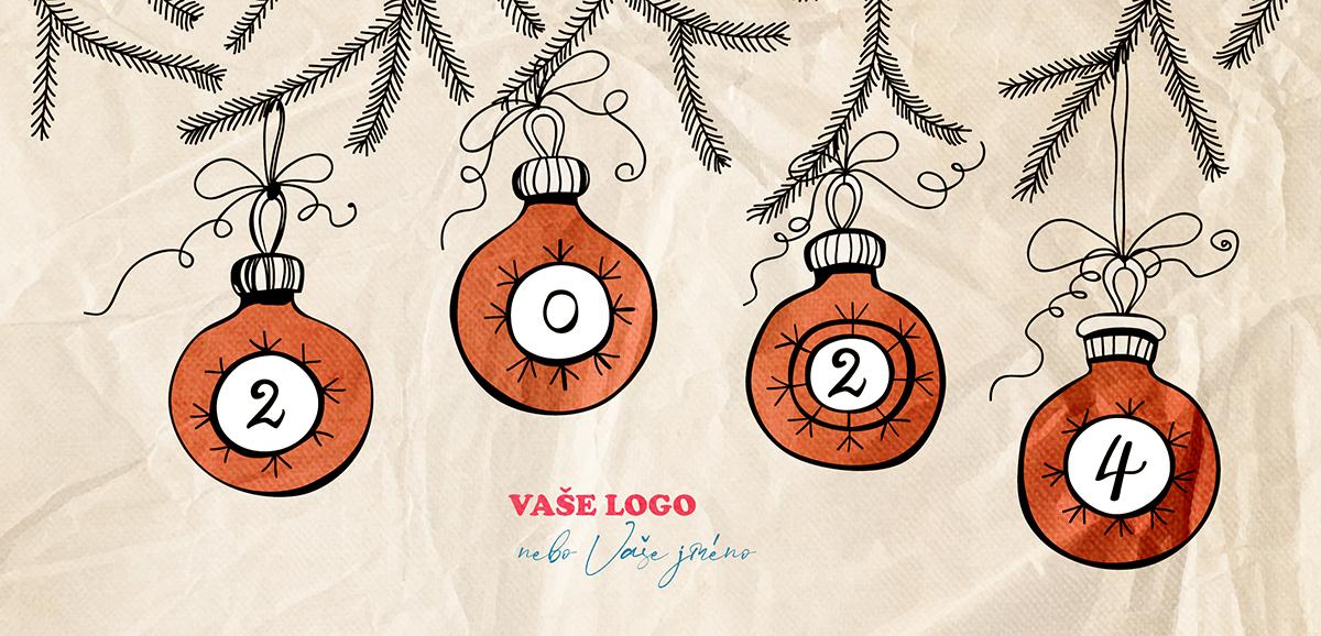 Vtipná, karikaturně kreslená novoročenka se čtyřmi vánočními baňkami na pozadí zmačkaného papíru.