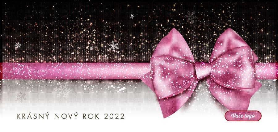 Efektní firemní novoročenka s růžovou mašlí na černobílém dárku, na který právě dopadá čerstvý sníh