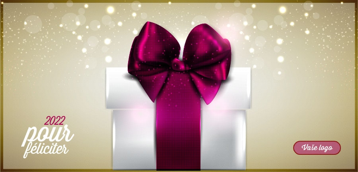 Luxusní firemní novoroční přání s bílým dárkem s vínovou mašlí na zlatém strukturovaném pozadí.
