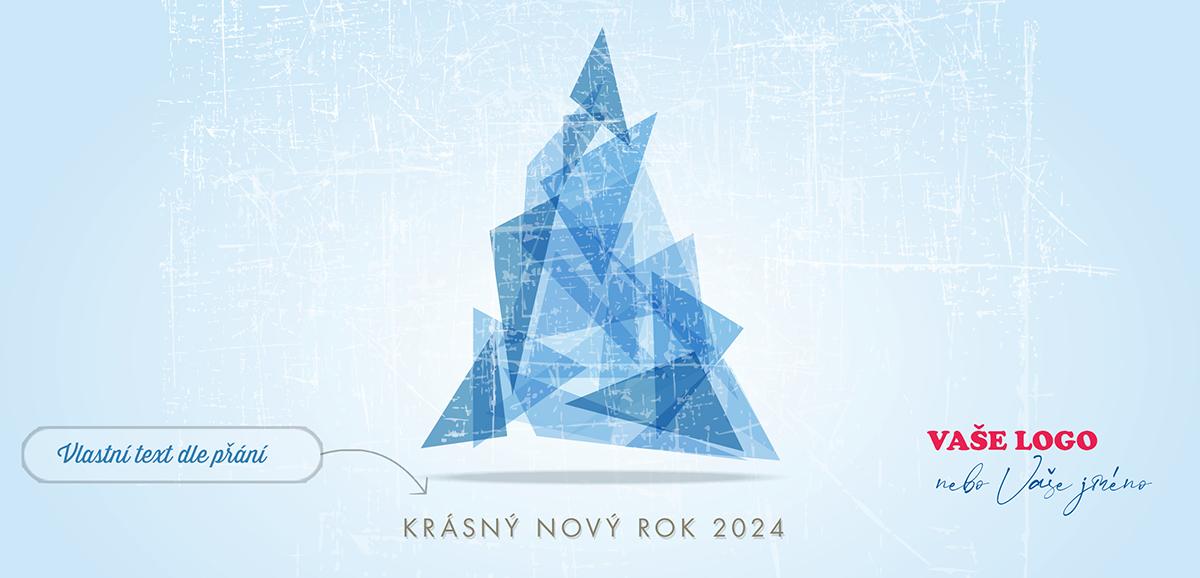 Ledový vánoční stromeček z trojúhelníků na světle modrém poškrábaném pozadí novoročenky