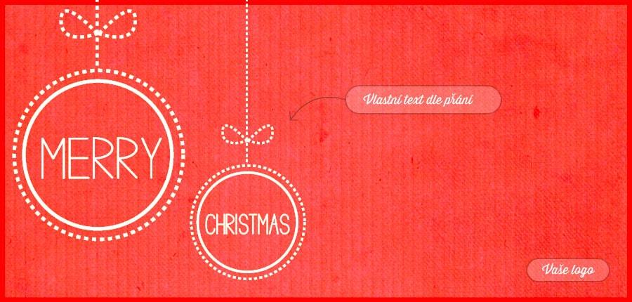 Jednoduché vánoční přání s vánočními ozdobami, nakreslenými přerušovanou čarou, na červeném pozadí.