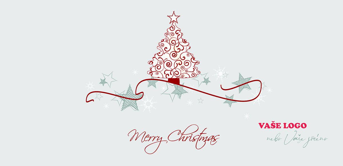 Vánoční přání s červeně vyšitým stromečkem a šrafovanými hvězdičkami na bílém strukturovaném pozadí