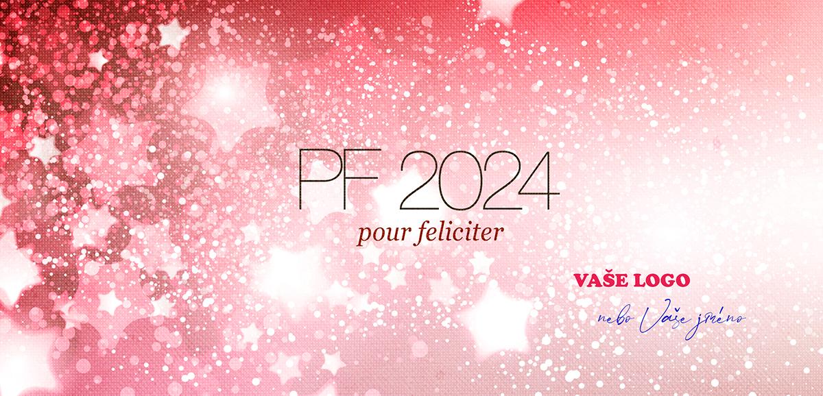 Zářivé firemní novoroční přání s hvězdným ohňostrojem na červeném strukturovaném pozadí.