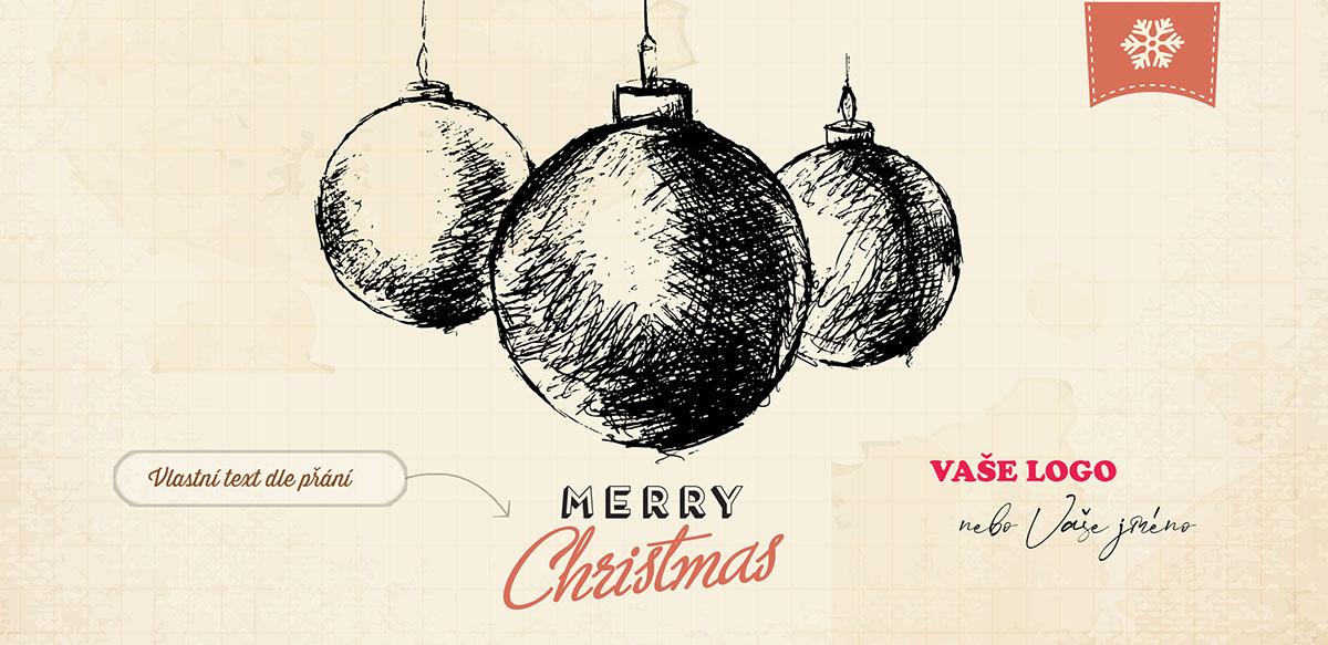 Vánoční přání stylizované do ručně malovaného obrázku tří vánočních baněk na zažloutlém papíře náčrtníku.
