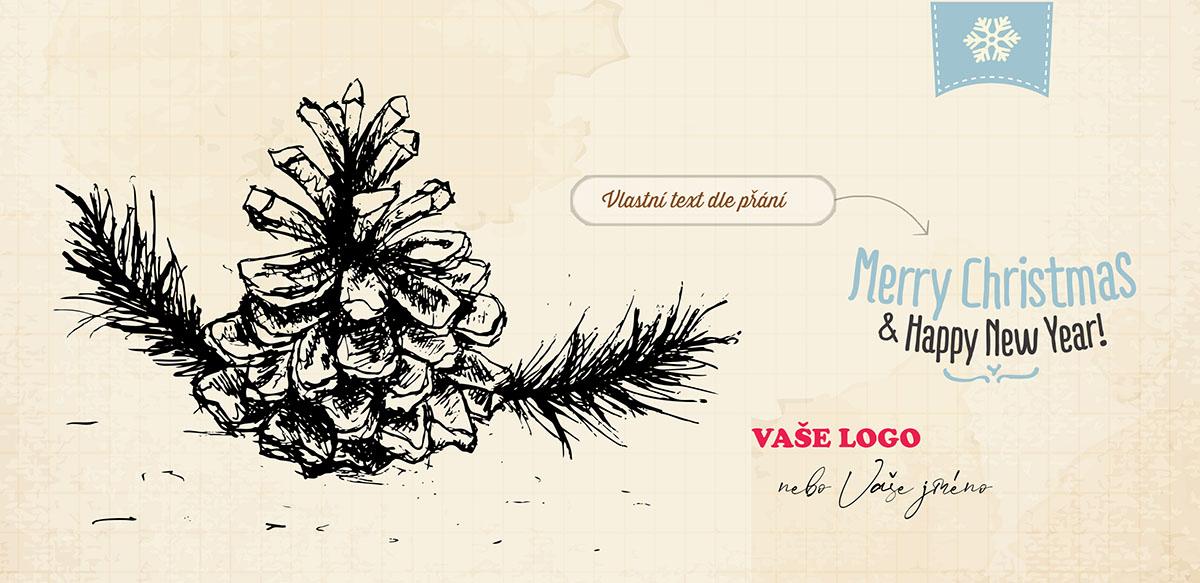 Vánoční přání s ručně malovanou šiškou na větvi na zažloutlém papíře skicáku