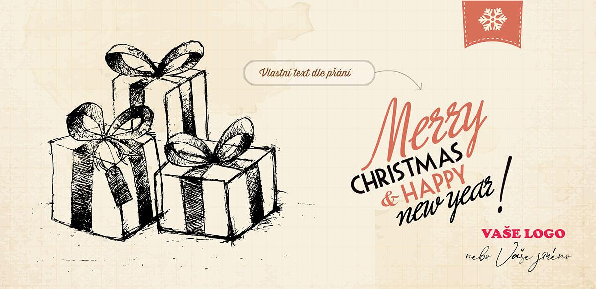 Neobyčejná novoročenka se třemi vánočními balíčky ručně nakreslenými na zažloutlém papíře náčrtníku.