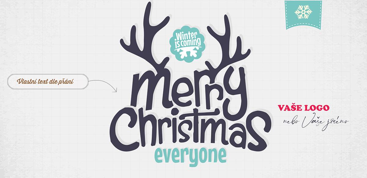Vtipně minimalistické firemní vánoční přání pouze s textem ozdobeným sobími parohy.