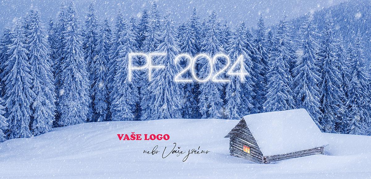 Zasněžená horská chalupa uprostřed lesů z novoročenky inspiruje k nápadům na báječného Silvestra.
