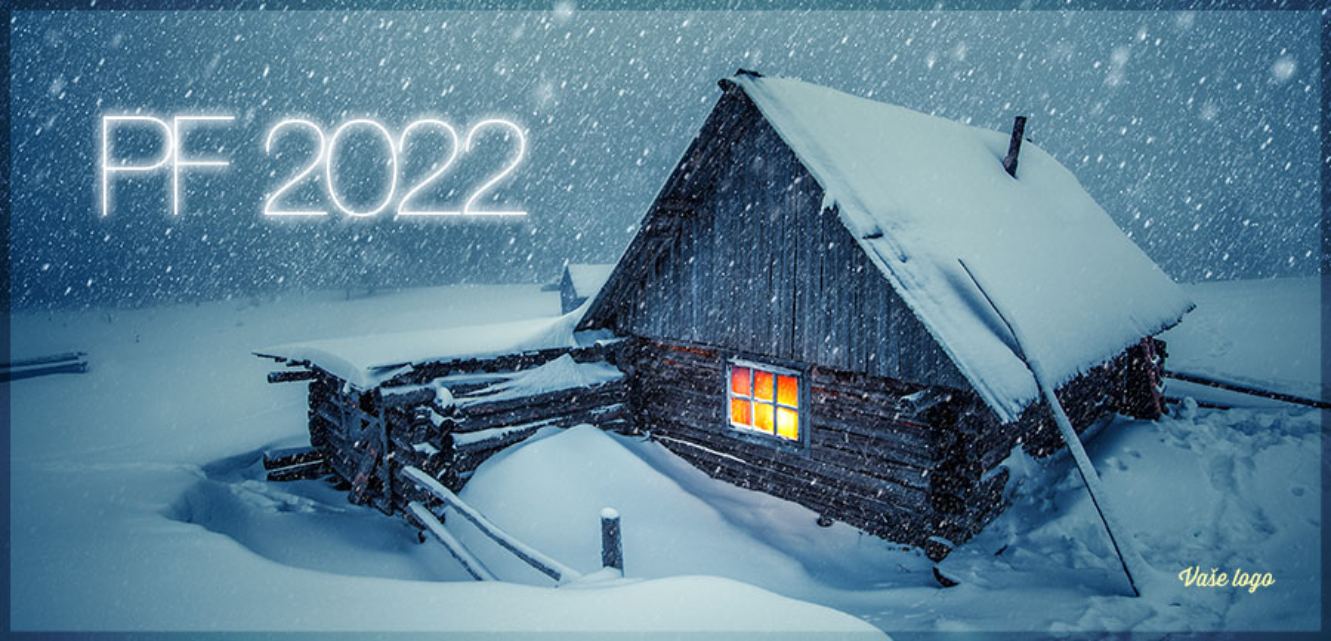 Chumelenice na horské chalupě s teple osvětleným oknem ještě zvýrazní hřejivost přání na novoročence.