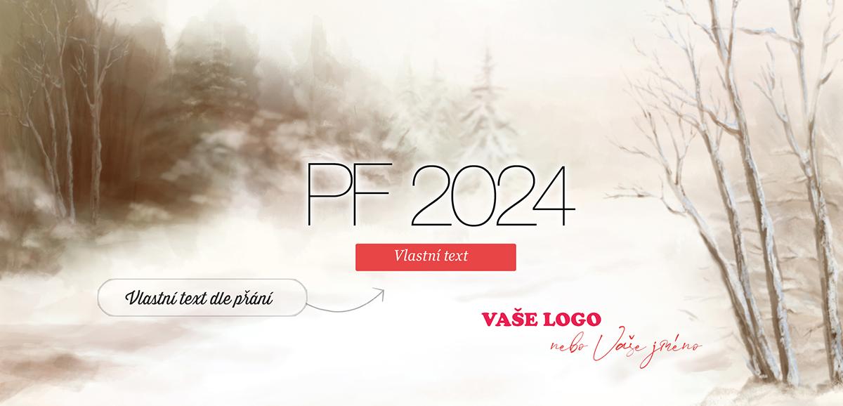 Novoroční přání s malovaným obrazem zimní krajiny zprostředkovává příjemnou nostalgii.