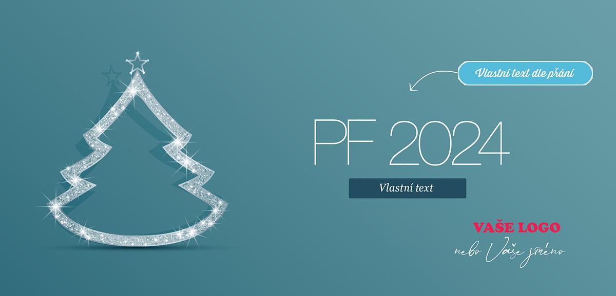 Jednoduché, ale efektní zelené novoroční přání se svítící bílou dekorací ve tvaru vánočního stromku.