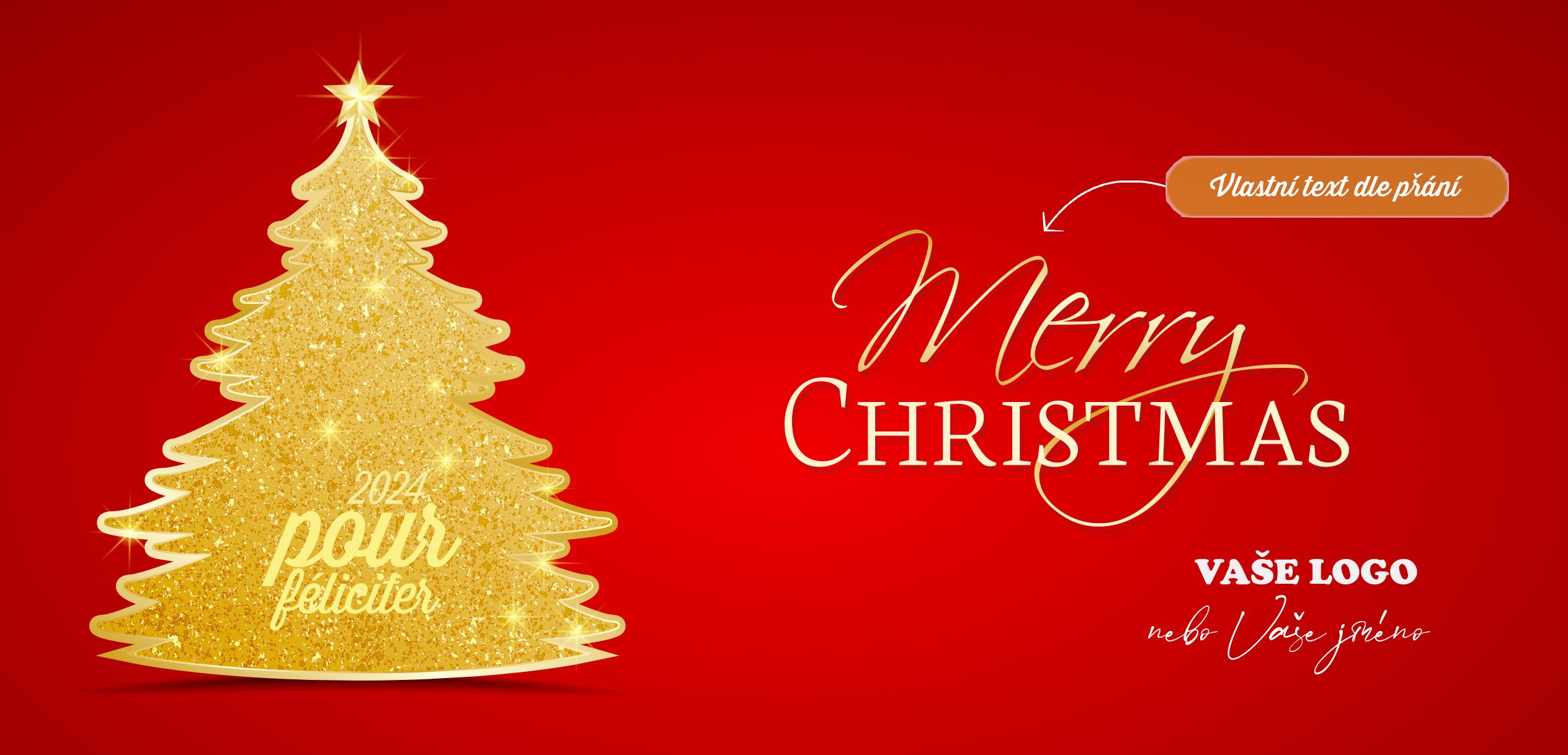 Zlatý vánoční stromeček na červeném pozadí novoročenky ladí s každým firemním logem.