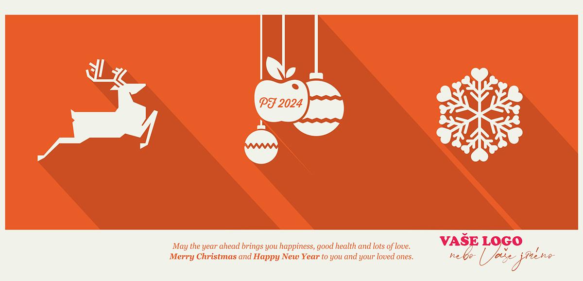 Tři bílé vánoční symboly soba, ozdob a sněhové vločky na červeném stínovaném pozadí novoročenky.