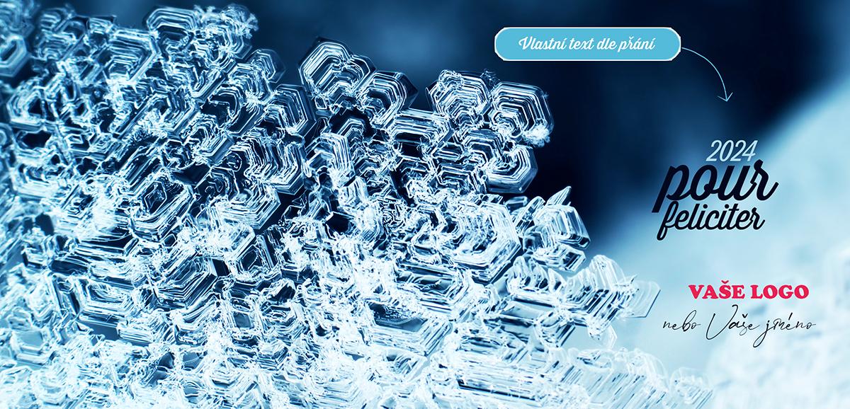 Dokonalá struktura mnohokrát zvětšené sněhové vločky excelentně ozdobí nejen firemní novoročenky.