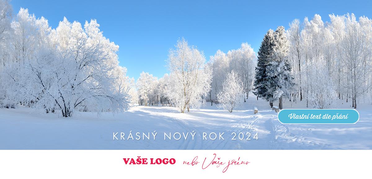 Mrazivé slunce zářící do sněhem zkrášlené krajiny příjemně osvěží i firemní novoročenky