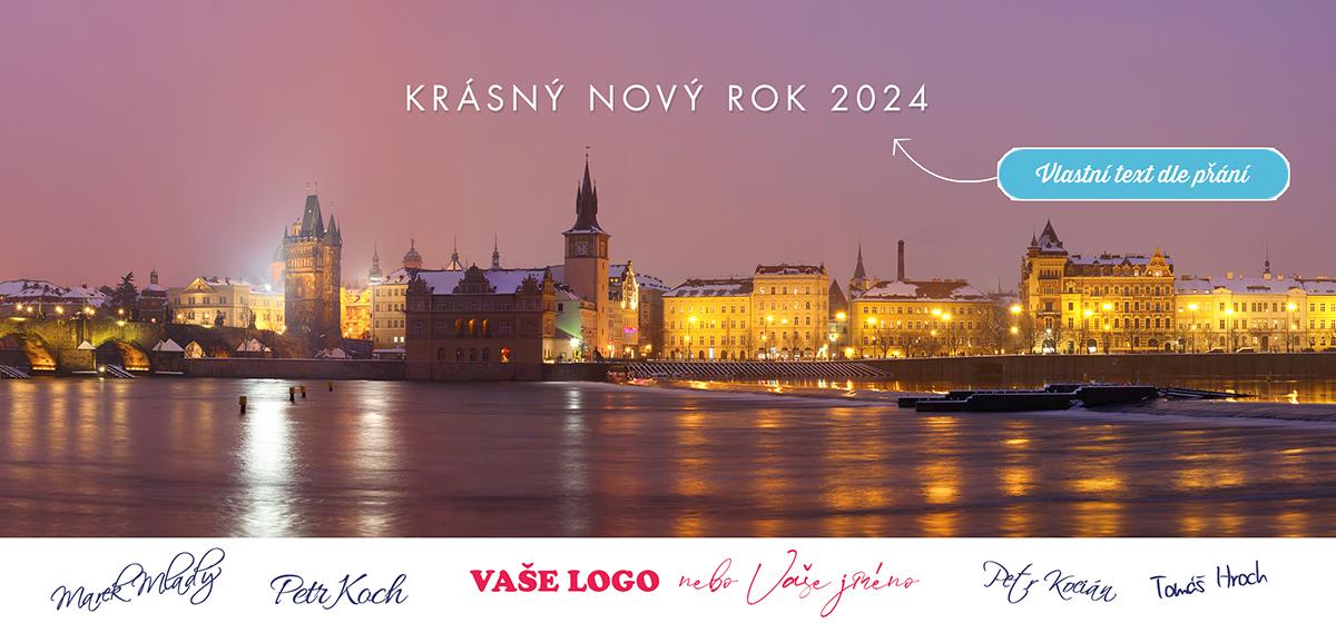Kouzelnou atmosféru plnou nostalgie má pro novoroční přání i osvětlená večerní Praha v zimě.