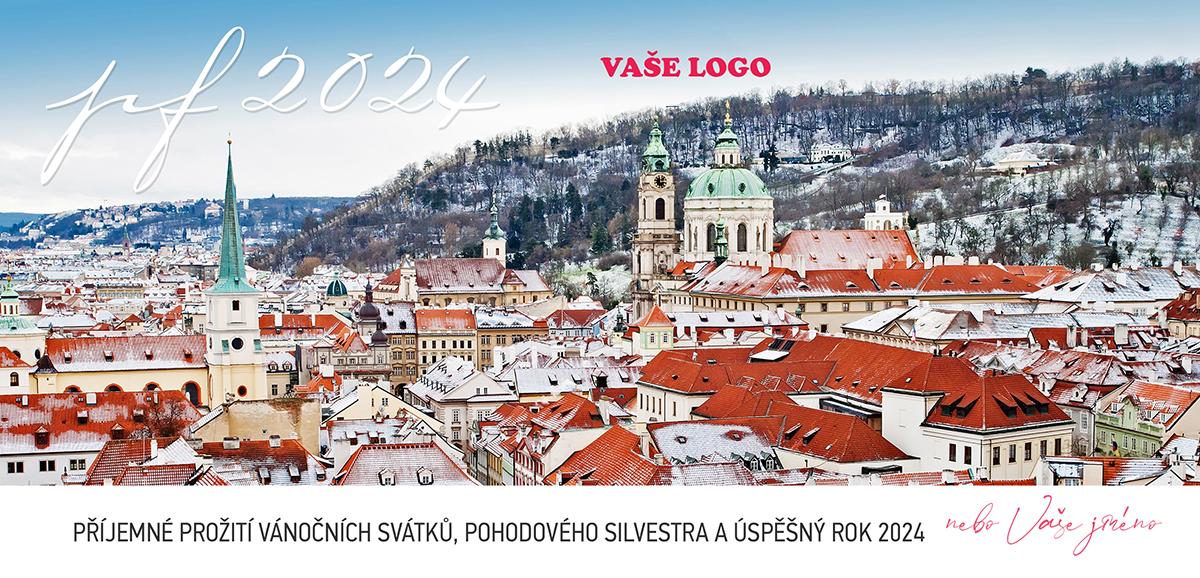 Pozoruhodné seskupení pražských střech poskytuje skvělý námět pro letošní firemní novoroční přání.