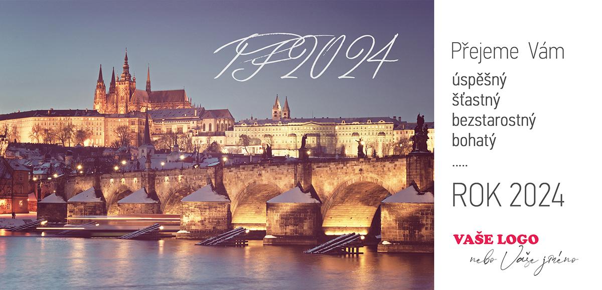 Praha zapůsobí na všechny zahraniční klienty, proto přidejte Karlův most do letošní novoročenky.