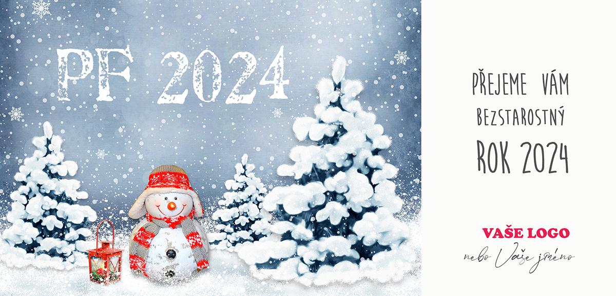 Roztomilé vánoční přání s kresbou zimní krajiny a malým sněhulákem s vánoční beranicí a lucernou.