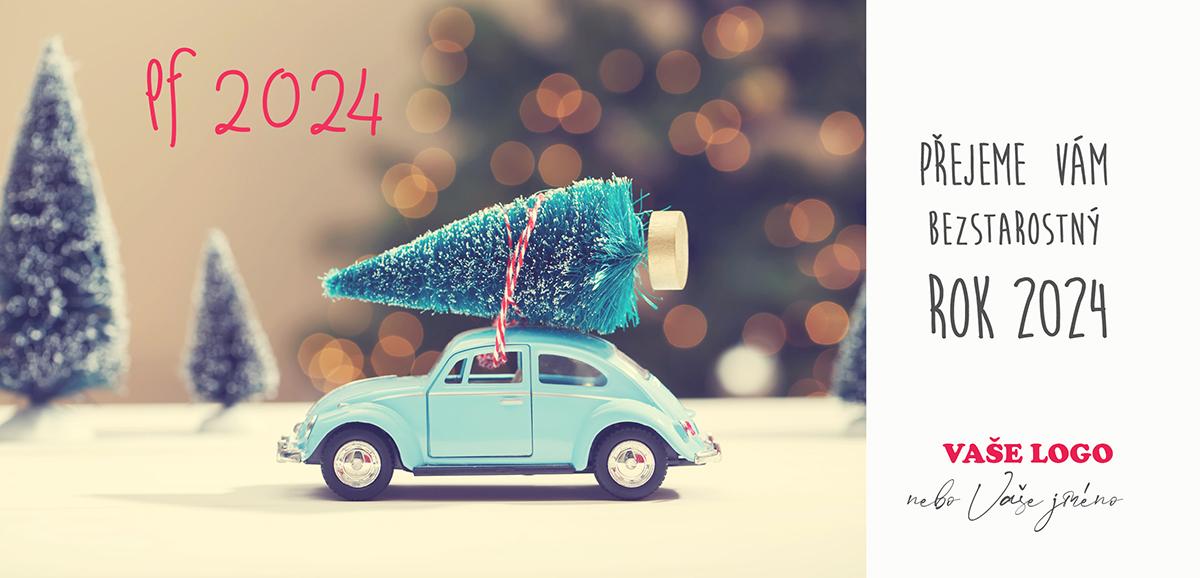 Vtipné firemní vánoční přání s dětským autíčkem, které má na střeše přivázaný vánoční stromeček.