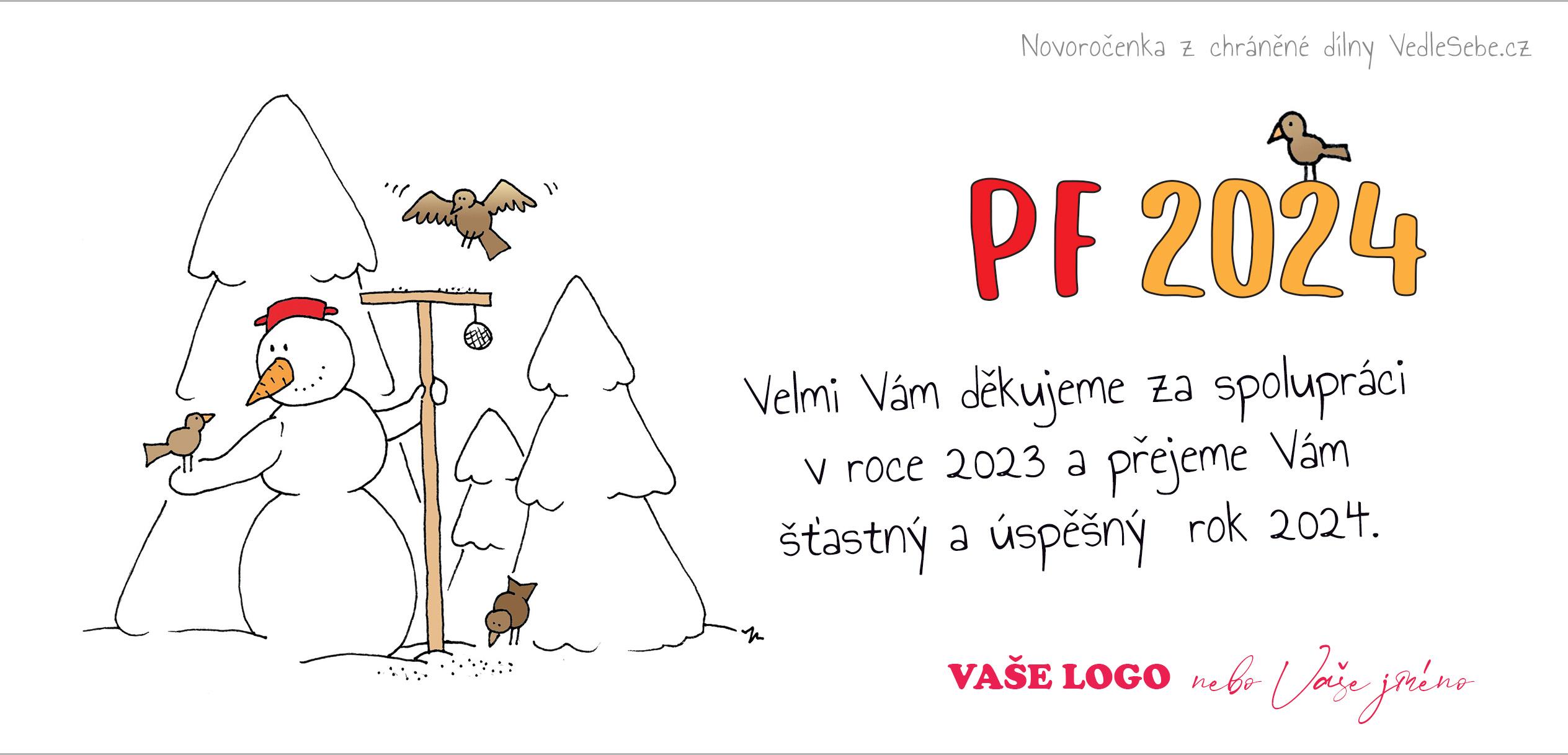 Vtipně kreslená novoročenka se sněhulákem krmícím ptáky o Vánocích.