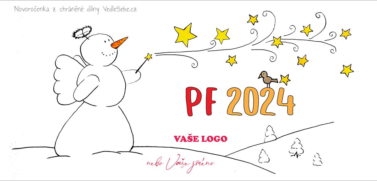 Vtipně kreslená novoročenka s andělským sněhulákem s kouzelnou hůlkou.