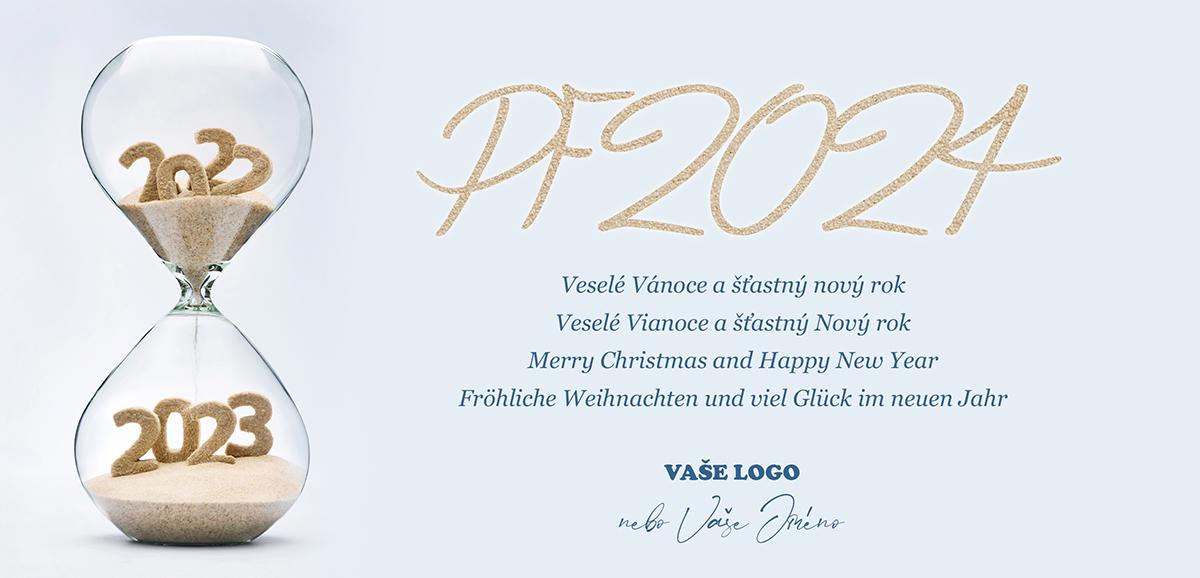 Firemní novoroční přání s přesýpacími hodinami odpočítávajícími čas do konce roku k začátku nového.