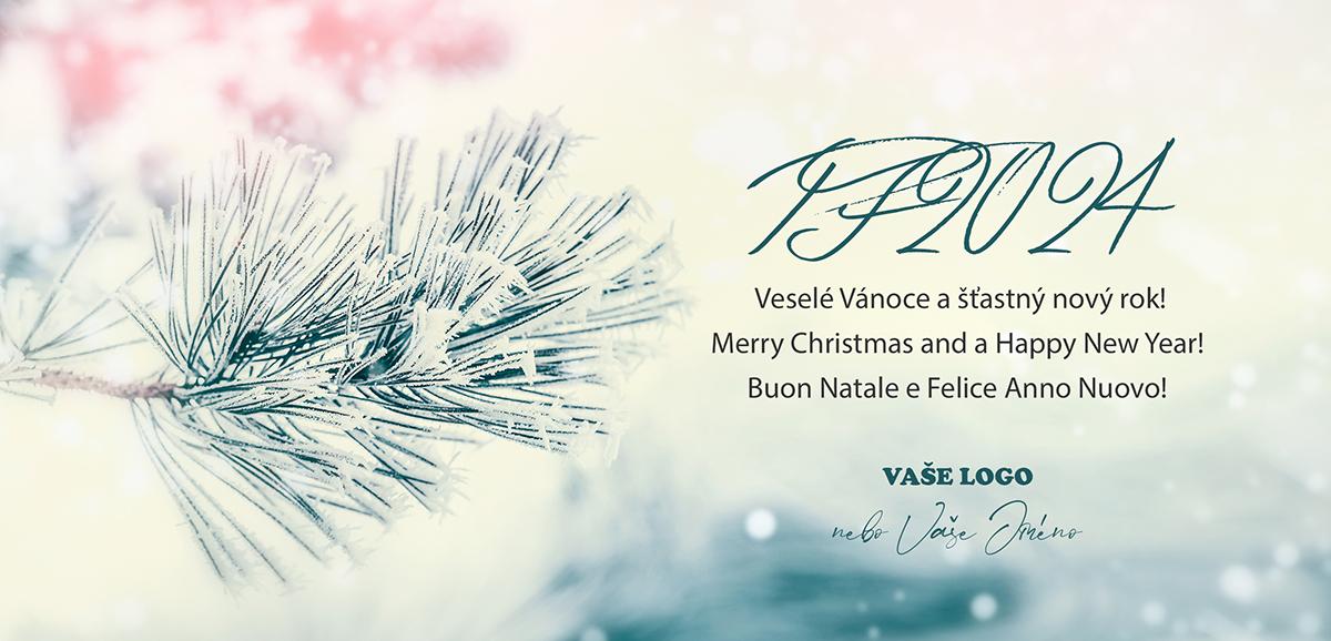 Firemní vánoční přání se zasněženou větvičkou v příjemně zimní atmosféře potěší krásou okamžiku.