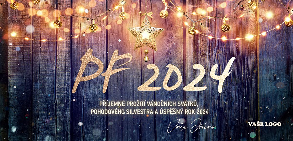 Vánoční přání s dřevěným pozadím zdobeným zlatými dekoracemi a světýlky s hvězdou a zvonečkem uprostřed.