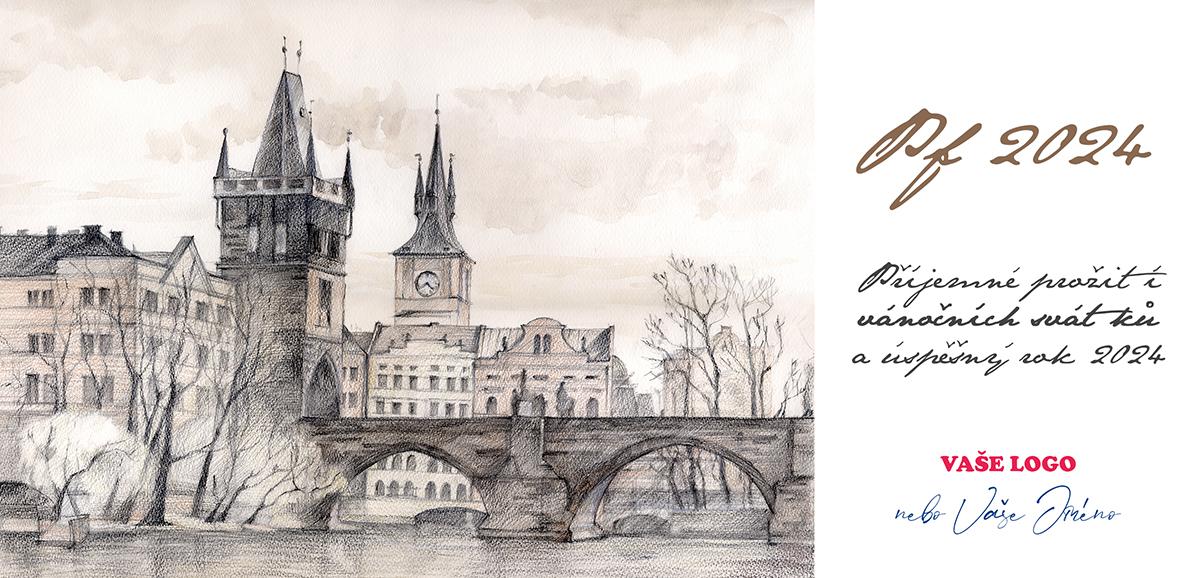 Ručně kreslená Praha v černobílém provedení naplní novoročenky příjemnou nostalgií.