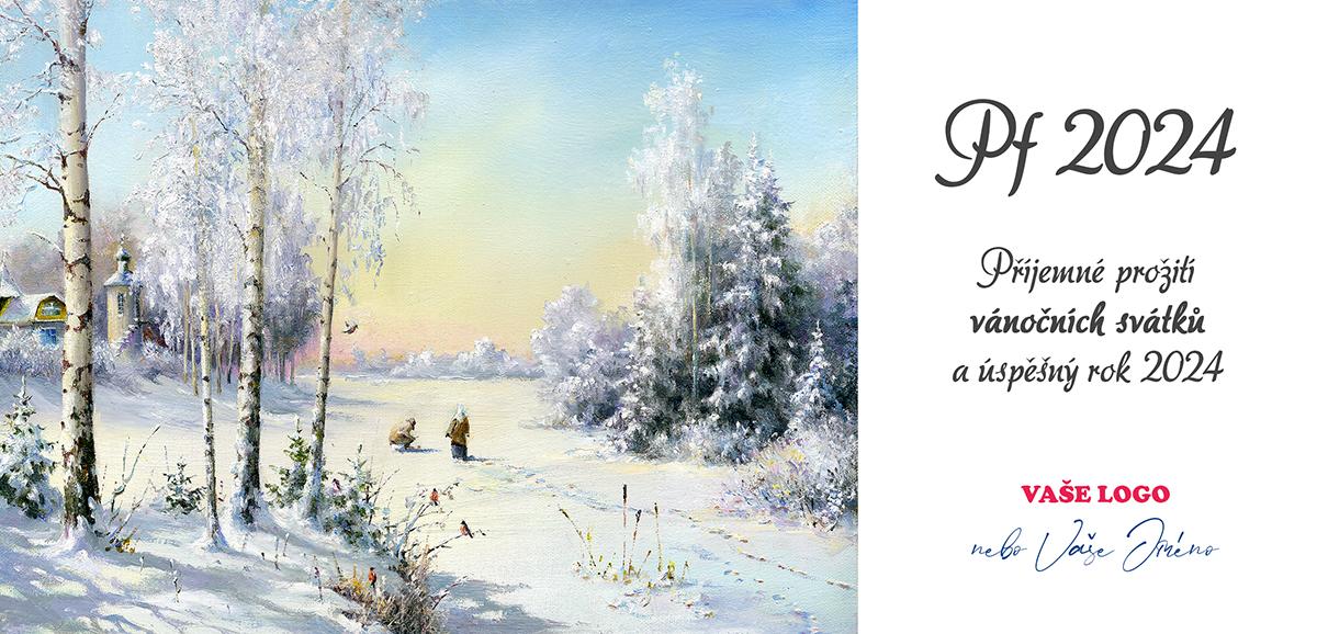 Vánoční přání s malovaným obrázkem se zimní krajinou jako z pohádkové knížky.