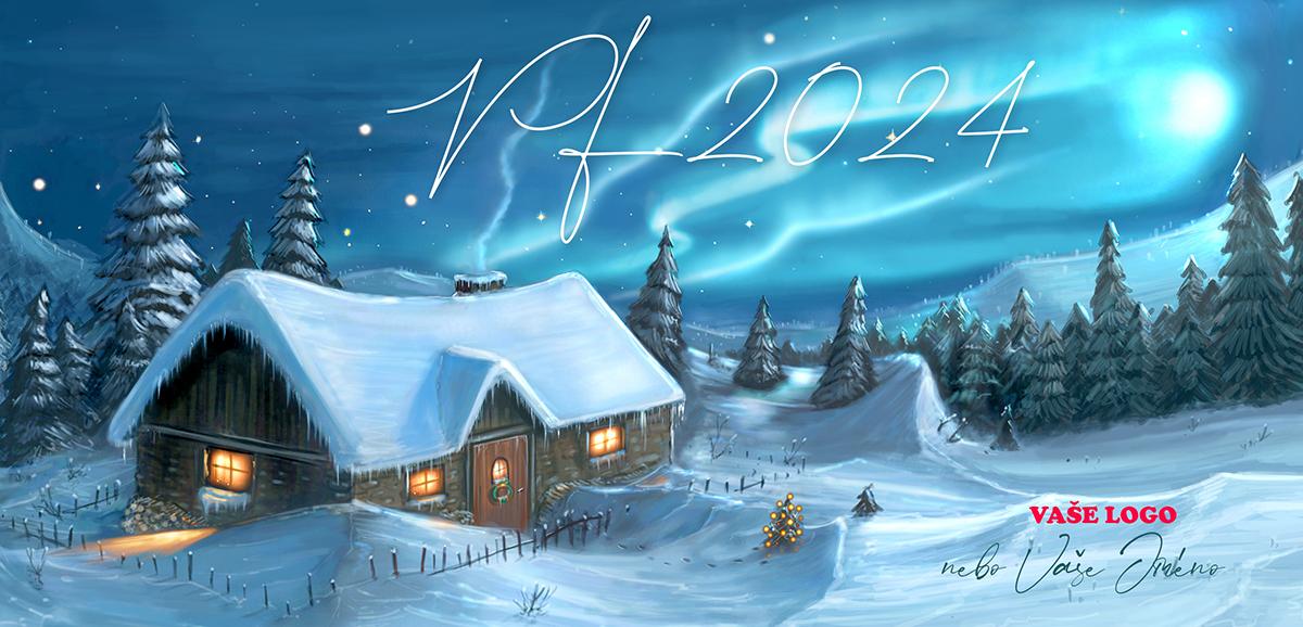 Vánoční přání s dokonale nakreslenou zasněženou pohádkovou chaloupku v lese.