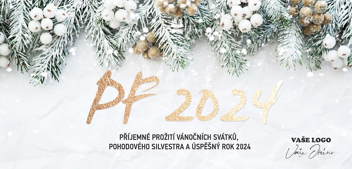 Přírodně laděné novoroční přání s jehličnatými větvičkami s bílými a hnědými plody na bílém pozadí.