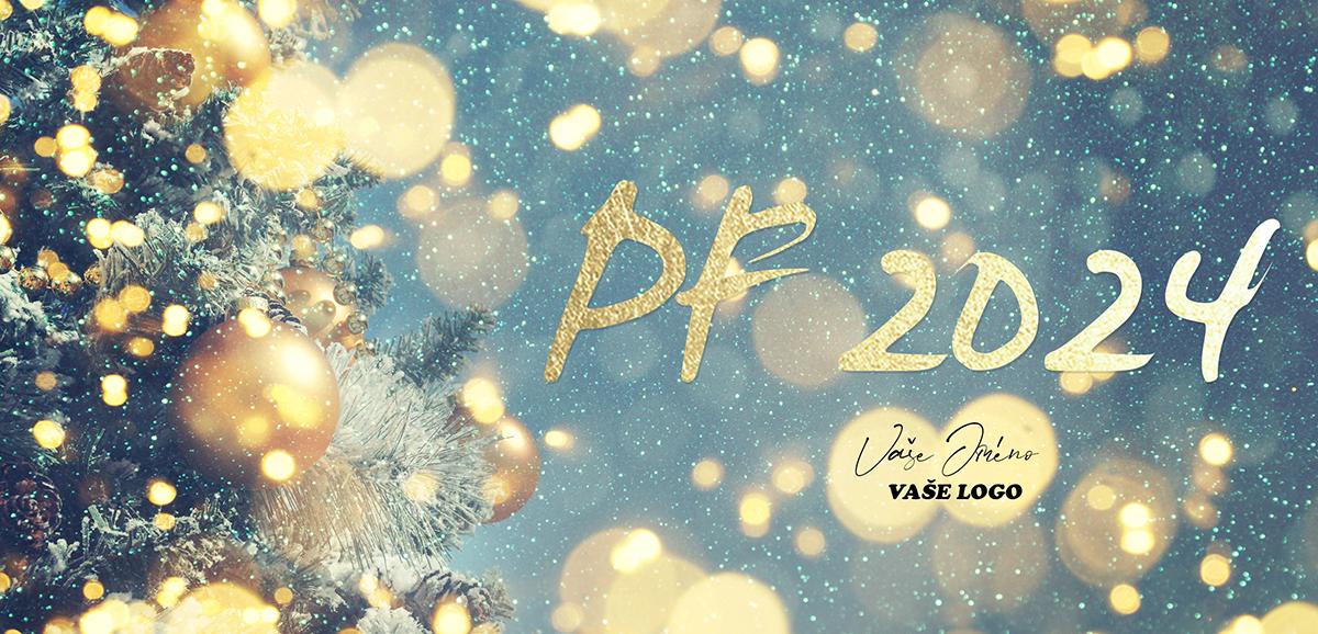 Třpytivě zlaté vánoční přání s částí vánočního stromku se zlatými baňkami na pozadí padajícího sněhu.