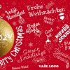 Novoročenka se zlatou baňkou a různými jazyky i styly písma vánočního přání doplněná miniaturami ozdob.